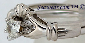 Claddagh engagement and wedding ring set