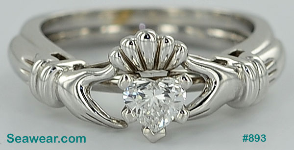 white gold Claddagh diamond engagement ring and Claddagh enhancer band
