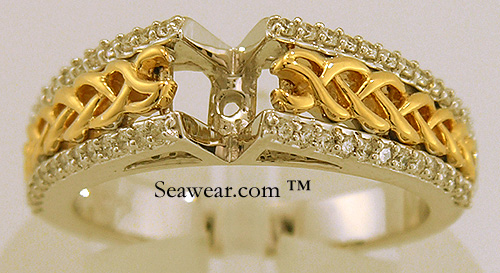 gold and diamond Celtic braid engagement base ring