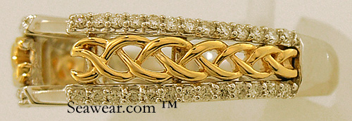gold and diamond Celtic knot braid close up