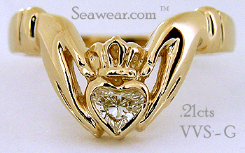 Claddagh engagement ring with VVS-D diamond