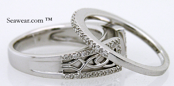 white gold diamond Celtic wedding set The rings are approximately size 7 in