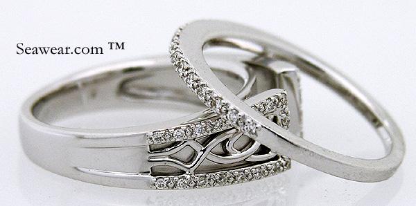 White Gold Diamond Celtic Wedding Set