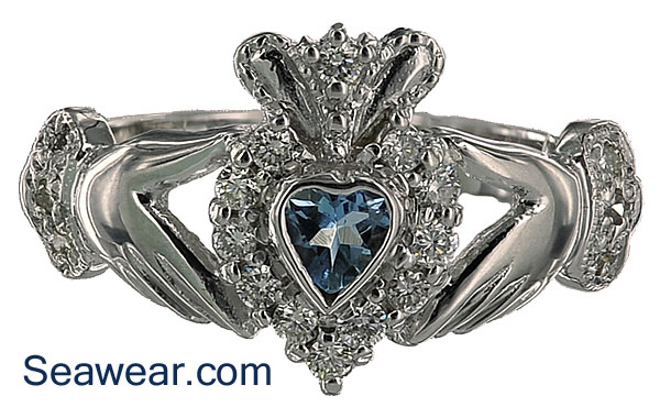 kswkd sterling jewelry claddagh bands gemvara round aquamarine silver ring petite