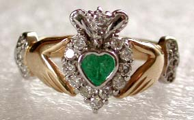 heart shaped emerald Claddagh ring