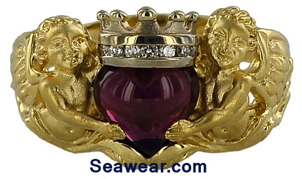 cherub claddagh ring with diamonds