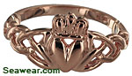 rose gold Celtic love knot Claddagh ring