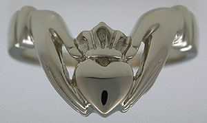 white gold Claddagh enhancer ring