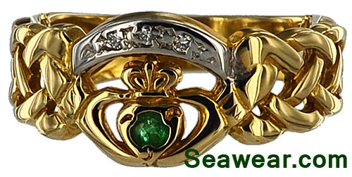 diamonds and emerald Celtic  Claddaagh ring