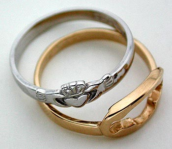 two piece claddagh puzzle ring