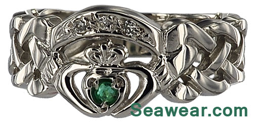 white gold diamond emerald claddagh ring