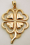 detailed 14k four leave clover pendant