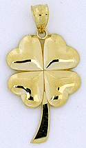 14k gold four leaf clover highly polished one inch tall