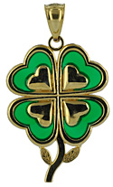 four leaf clover shamrock with stained glass enamel jewelry