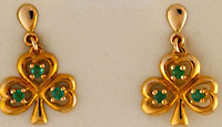 emerald shamrock post earrings