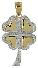 four leaf clover shamrock jewelry with .35cts of VS diamonds