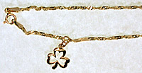 14k anklet with shamrock jewelry