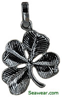 14k white gold shamrock four leaf clover jewerly necklace pendant