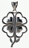 14kt white gold fou leaf clover