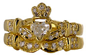 14kt gold Claddagh wedding set with VS diamonds
