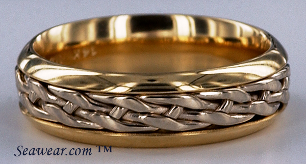 14kt two tone celtic knot wedding band - Viking Wedding Rings