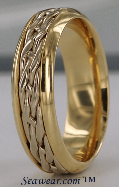 celtic knot wedding band in two tone gold with heavy - Norse Wedding Rings