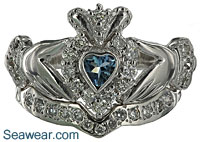 aquamarine Claddagh wedding set