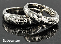 platinum Claddagh wedding band set