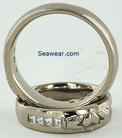his hers white gold diamond Claddagh wedding bands