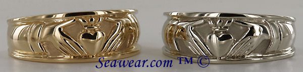 ladies 14kt yellow and white gold Claddagh wedding bands