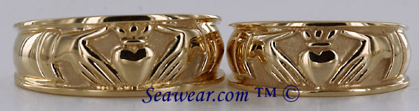 gents and ladies 14kt yellow Claddagh wedding bands