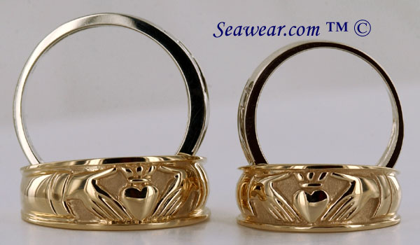 14kt yellow and white gold gents and ladies Claddagh wedding rings