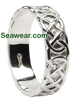 white gold Celtic love knot band