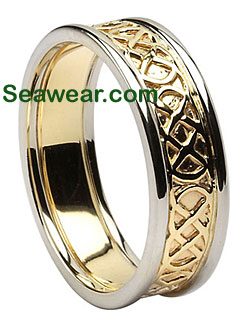 two tone gold Celtic love knot wedding ring