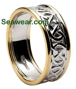 two tone gold Celtic love knot wedding band