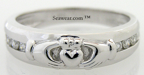 gents diamond Claddagh wedding band