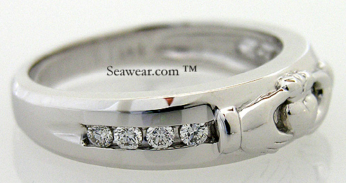 four round diamonds in mans Claddagh wedding band