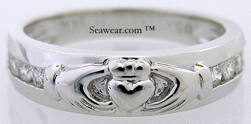 ladies diamond Claddagh wedding band