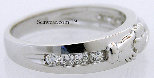 sparkling white diamonds in ladies Claddagh wedding band