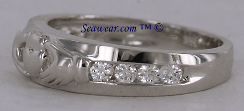 14kt white gold Claddagh wedding band with SI diamonds