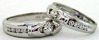 matching set Claddagh diamond bands