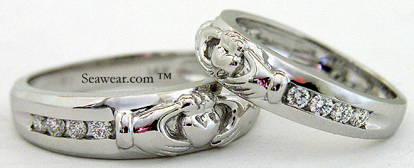 matching Claddagh diamond wedding bands