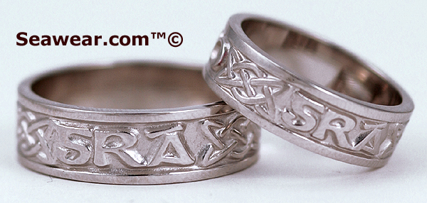 Gaelic Gra Go Deo wedding bands in white gold