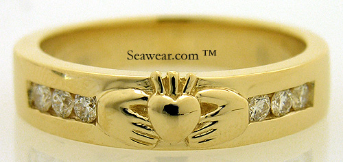 gold gents Claddagh wedding band with round diamonds