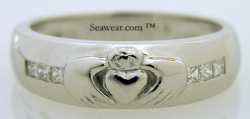 Princess Cut Diamond Claddagh Wedding Band