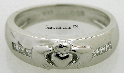 thick heavy mens Claddagh wedding band