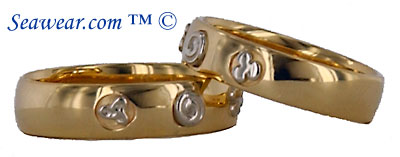 14kt two tone Celtic History wedding bands