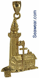 14kt gold Montauk Point lighthouse necklace pendant