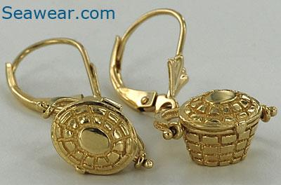 14kt Leverback Nantucket Basket Earrings