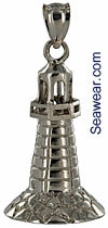 14kt white gold full round 3D lighthouse pendant